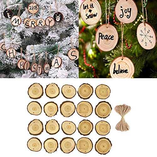 Euone  Wooden Slices, 20Pcs Wooden Christmas Tree Hanging Ornament Wood Slices DIY Art Craft Gift Tags Xmas Exquisite Pendant -