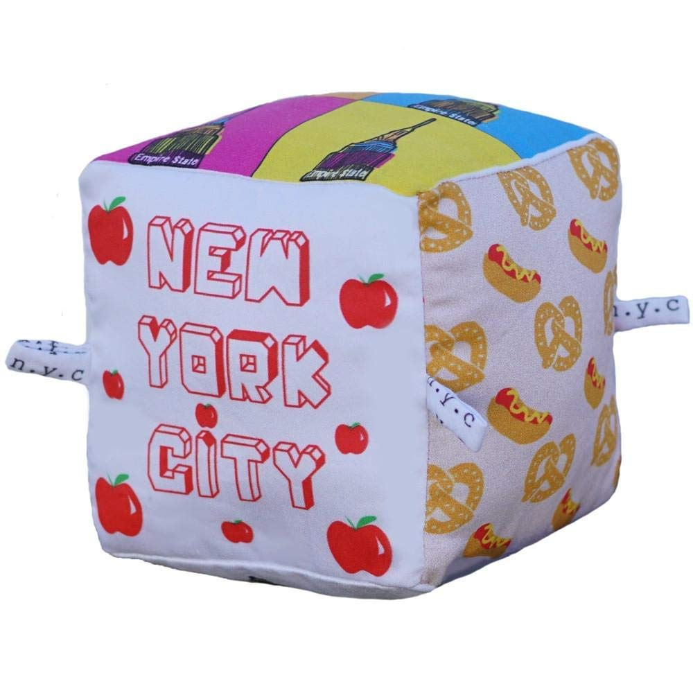 New York City Block | Organic Toy | Eco Soft Cotton | Best Toy of the Year | Handmade in Brooklyn | Jingle Column | Rattle | Baby Blocks