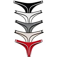 ETAOLINE Women's Cotton Thong Underwear Seamless Panties Hipster Pack of 5