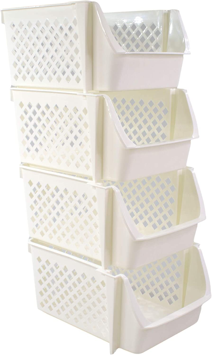 Bee Neat Stackable Storage Baskets for Vegetables Snacks Food Toys - Plastic Storage Bins for Organizing Your Kitchen Pantry Bathroom Playroom Cabinets and Under Sink - White - Pack of 4