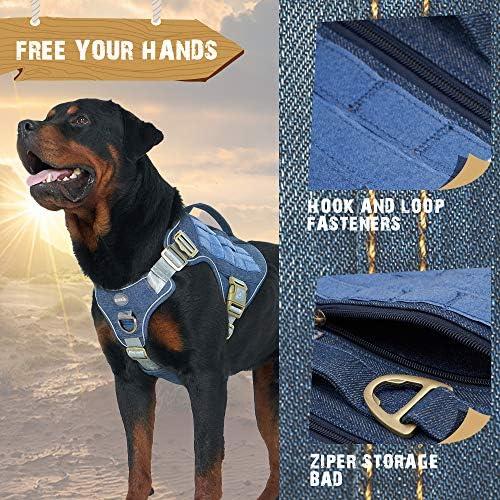 Auroth - Arnés táctico para perro, sin tirar, ajustable, arnés reflectante K9 de entrenamiento de trabajo para mascotas, servicio militar, arnés para perro, fácil control para perros pequeños, medianos y grandes 7