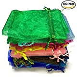 Giveet 100 Pieces Mixed Colors Organza Gift Bags, Drawstring Pouches Jewelry bags, Candy Pouch Chocolate Pouch Party Wedding Favor Gift Bag, 4.7 x 3.5 Inches