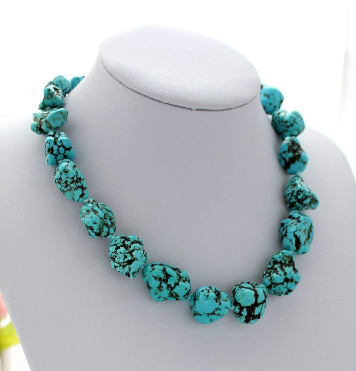 Chunky Gemstone Statement Necklace Zoom Jewelry Green and Gold Statement Necklace Turquoise Bead Necklace Green and Gold Necklace