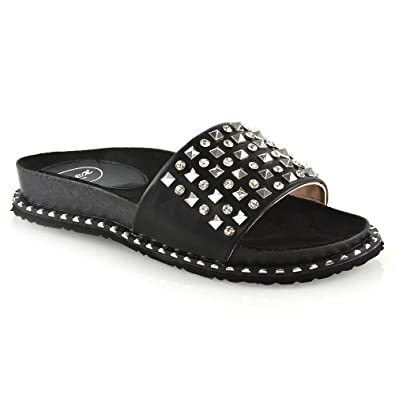 9c2745e44fcf ESSEX GLAM Womens Flat Sliders Ladies Black Synthetic Leather Studded Slip  On Mule Summer Holiday Sandals