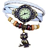 SAMGU bracelet en cuir bronze de quartz de dames Montres Vintage Bracelet femme Montre Hibou Charm