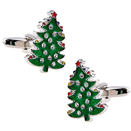 KDSANSO Mancuernas y Tachuelas del áRbol de Navidad Set Tuxedo Shirts Bodas de Negocios Psersonalized Designer Cuff Links,Verde 1.2 * 1.6cm: Amazon.es: ...