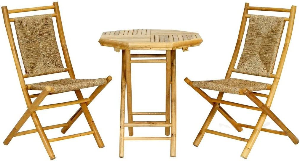 Heather Ann Creations The Lana'l Collection Contemporary Style Bamboo Wooden 3-Piece Table and Chairs Outdoor Patio Bistro Dining Set, Natural
