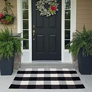 Buffalo Plaid Check Outdoor Rug Door Mat 23.5'' x 35.5''Black and White Hand-Woven Porch Rug Welcome Doormat for Kitchen, Bathroom, Laundry Room, Bedroom