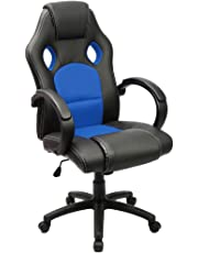 Furmax Office Chair Leather Desk Gaming Chair, High Back Ergonomic Adjustable Racing Chair,Task Swivel Executive Computer Chair Headrest and Lumbar Support