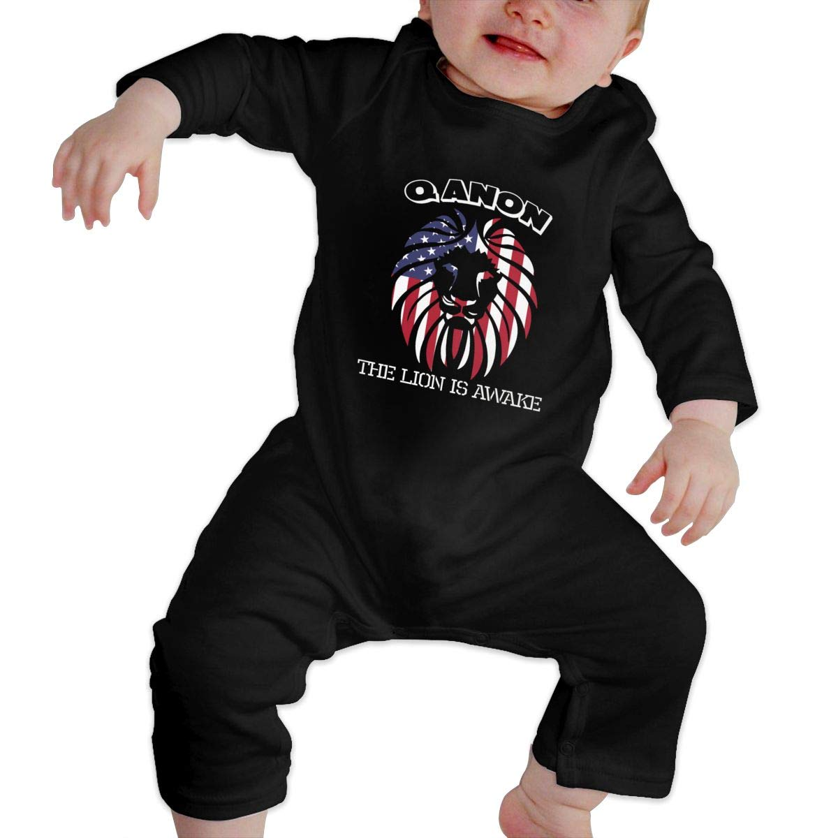SOFIEYA Qanon-The-Lion-is-Awake Kids Baby Unisex Cotton Cute Long Sleeve Hooded Romper Jumpsuit Baby Crawler Clothes Black