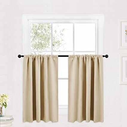 Lovely RYB HOME Cream Beige Thermal Insulated Valances Plain Rod Pocket Small  Window Treatment Curtain Panels Morden