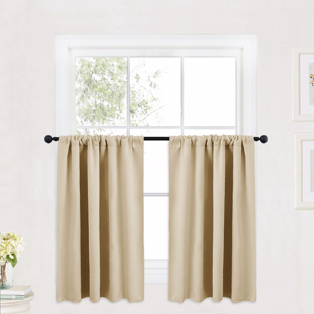 RYB HOME Cream Beige Thermal Insulated Valances Plain Rod Pocket Small Window Treatment Curtain Panels Morden Design Curtain Tiers for Office/Kitchen, 42 in Wide by 36 in Long, 2 Pieces