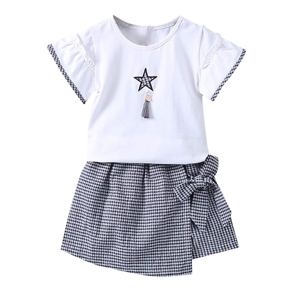 f777e64edf Amazon.com: Summer Comfy Clothes Set for Baby Girl Short Sleeve Printed  Plaid Strap Irregular Skirt 2Pcs: Clothing