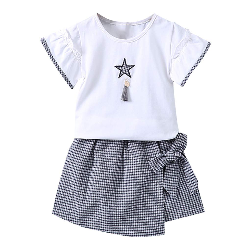 Baby Girls 2pcs Dress, Toddler Kids Short Sleeve Print T-Shirt Tops + Plaid Bowknot Skirt Outfits Set (6-12 Months, Navy)