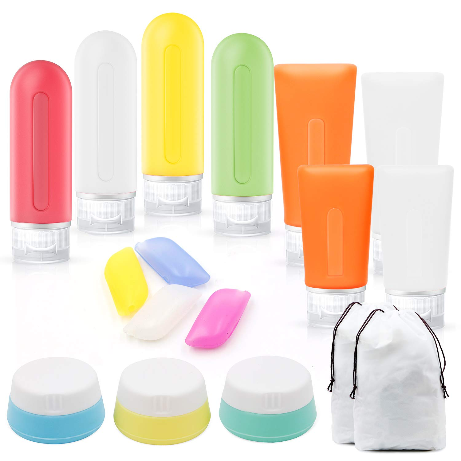 Houselog Travel Bottles,Leak Proof Silicone Travel Bottles Set TSA & Airline Approved with Cosmetic Travel Accessories Bottles Containers,Toothbrush Cover and Reusable Towel/Clothing Bag for Travel Camping