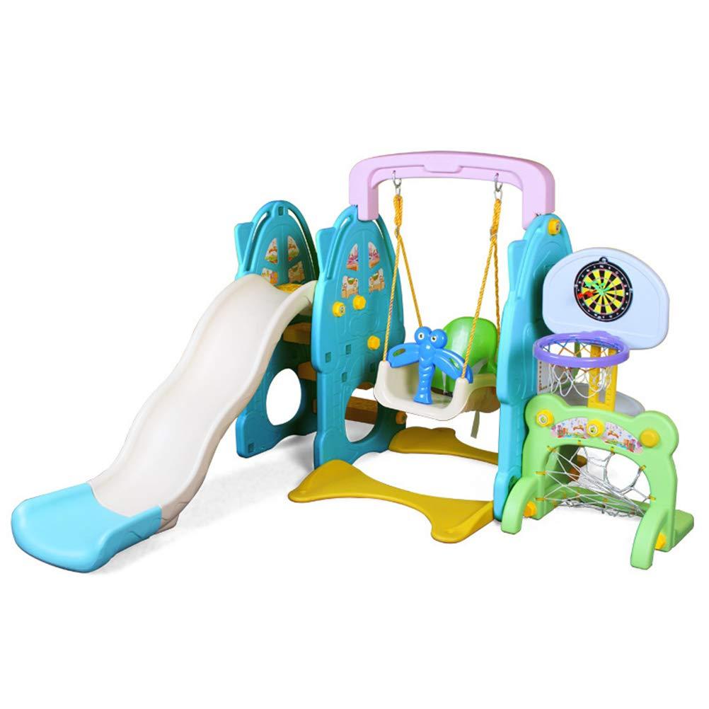 Thole 'Kids Adventure 4in1' Kinder Spielplatz Rutsche mit 145 cm Wellenrutsche und Basketballkorb Indoor Outdoor Blau