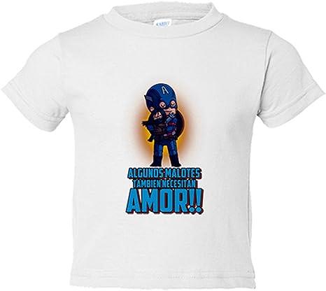 Camiseta niño parodia de Capitán América algunos malotes también necesitan amor San Valentín - Blanco, 3-4 años: Amazon.es: Bebé