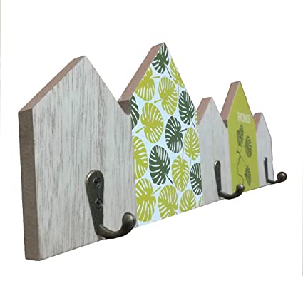 Cisne 2013, SL Perchero para Pared de Madera Tallada con 3 colgadores. Dimensiones 11x34,3cm. Diseño Hojas Home.