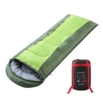 Semoo Saco de Dormir Impermeable, de 10-22ºC, 190T, Encapuchado para Adultos, con Bolsa de compresión (Verde): Amazon.es: Deportes y aire libre