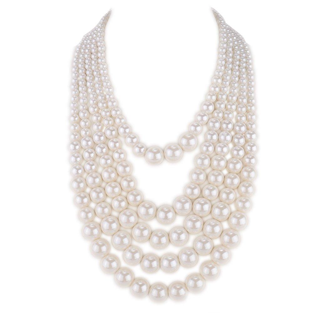 Kalse 5 Layers Strand Simulated Pearl Strand Bib Pendant Necklace White (5 Strands)
