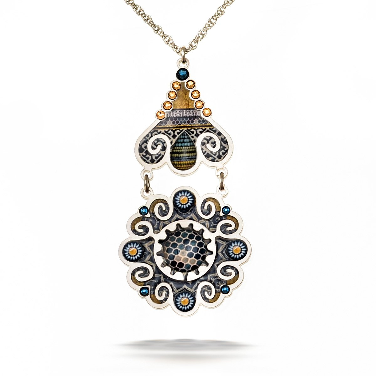 Artazia Mediterranean Blue and Golden Tones Marrakech Fashion Necklace N5609