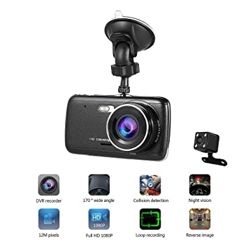 Cámara para Coche LESHP Dashcam Doble Cámaras Full HD 1080P 170°Lente Ultra Gran Angular
