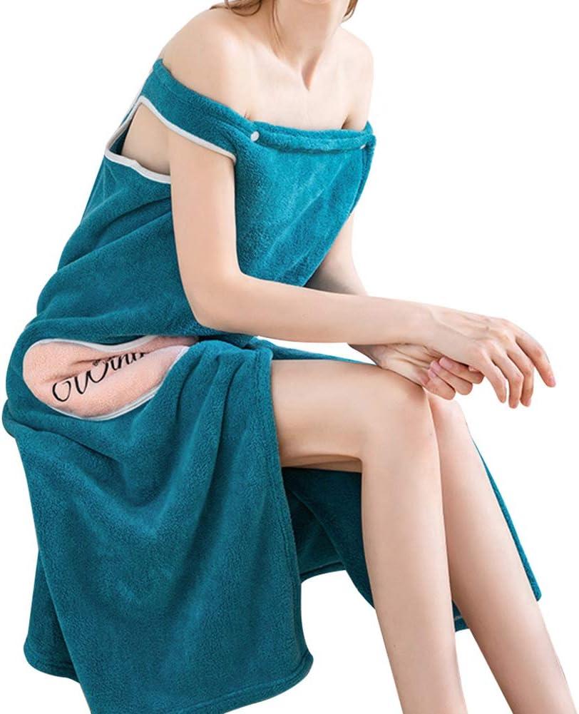 Starall Women Bathrobe,Quick Dry Wearable Microfiber Plush Bathrobes Thick Super Absorbent Cute Adult Bathing Bath Spa Skirt Gown Cosy Elastic Nightwear for Girl Ladies