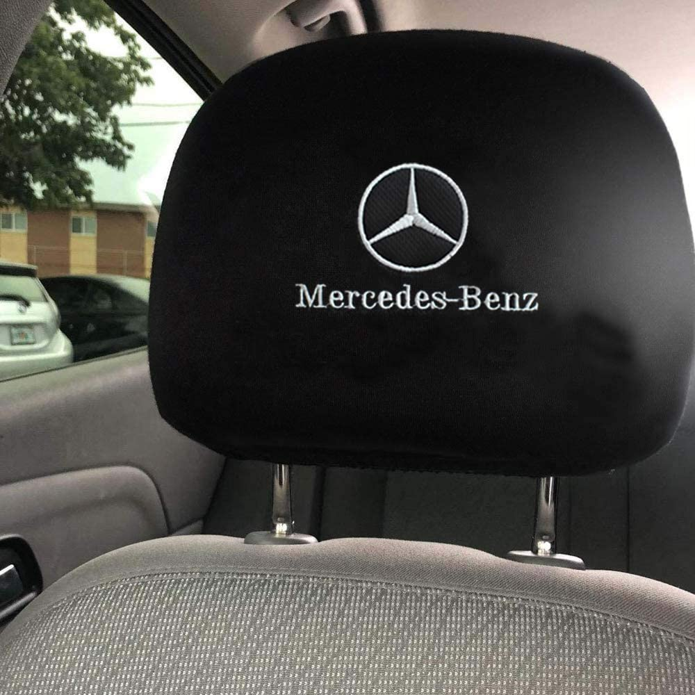 Fubai Auto Parts Set of 2 for Mercedes-Benz Embroidered Headrest Covers Car Truck SUV Van Headrest Covers for Mercedes Benz Fit Mercedes-Benz