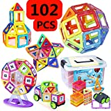 magnet building kits - Kingstar 102 Pcs Educational Magnetic Building Blocks Toys Set,Intelligence Magnet Bricks Tiles Building Construction Block Clear Stacking Toy Kit with Storage Box for Kid Toddlers