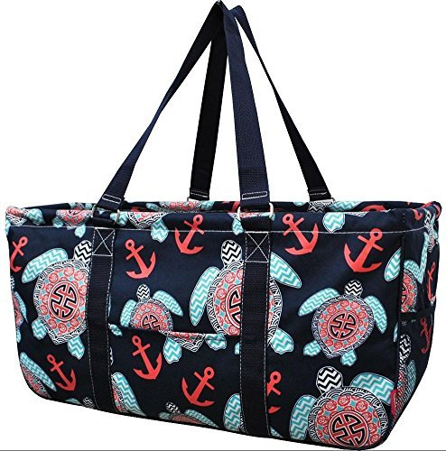 Large Tote Bag Collapsible~23''~Utility~Laundry~Diapers~Picnic~Shopping~Organize (Turtles Navy Handle)