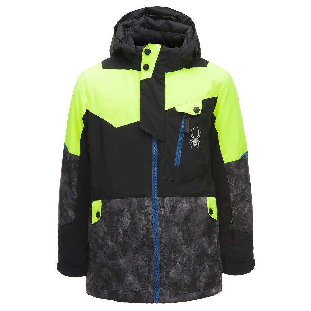 Spyder Kids Boy's Tordrillo Jacket (Big Kids) Black/Cloudy Tonal Distress Polar/Bryte Yellow 8