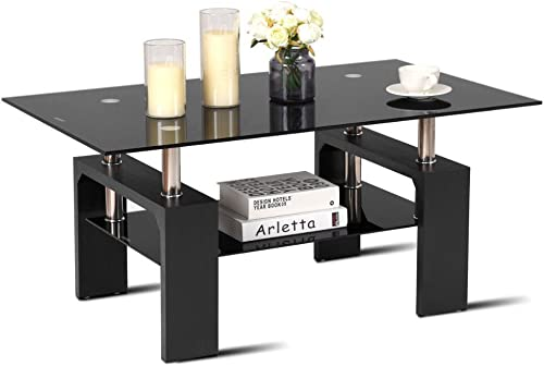 Rectangular Glass Coffee End Side Table w/Shelf Living Room Furniture Black