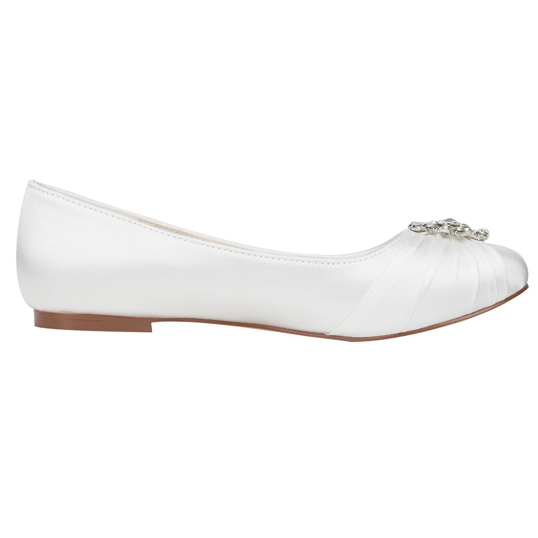 Emily Bridal Elfenbein Elfenbein Elfenbein Hochzeit Schuhe Seide Strass Plissee Round Toe Slip auf Braut Pumps 0bfa84