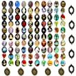Jewelry Making Kit 40pc Cameo Arts Crafts Oval Metal Blank Frame and Unset Handmade Cabochon 25x18mm