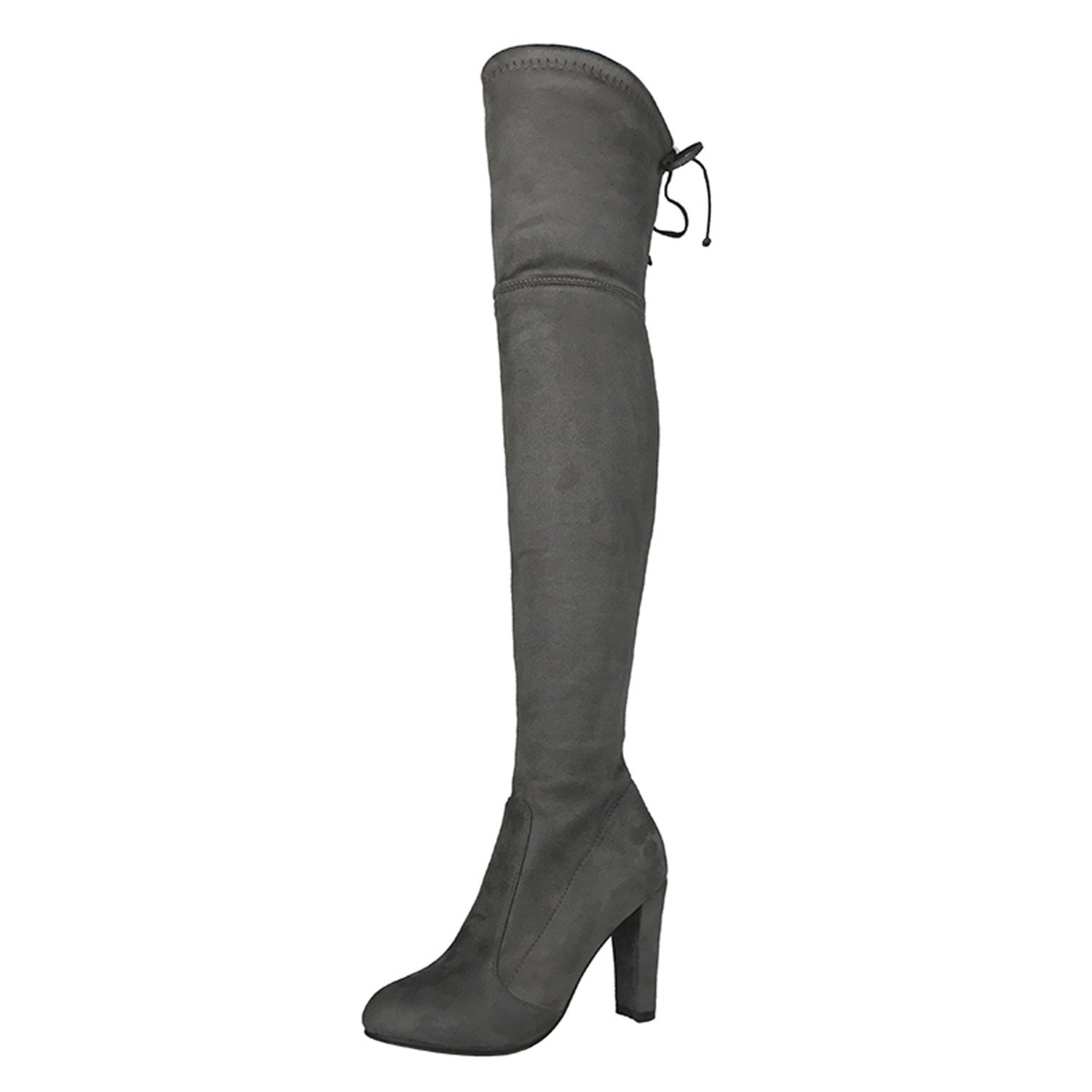 Dormery Top Sexy Faux Suede Women Thigh High Boots Stretch Slim Sexy Top Fashion Over The Knee Boots Female Shoes High Heels Black Gray Wine Nude B078R2KY2Y Boots 620fbf