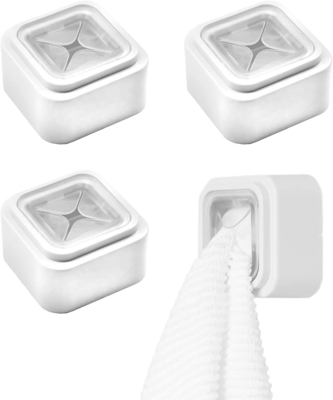 3M Self-Adhesive Towel Holder (Pack of 4) – Perfect for Hanging Face Towels, Body Towels or Robes. Wall Mounted Hook for Bathroom, Kitchen. Stick & Go Easy Installation - -