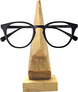 Whopper Decorative Wooden Elegant And Light Nose Shape Eyewear Eyeglass Holder And Wall Cross Home Decor Display Stand Office Desk Decoration 6 Inch