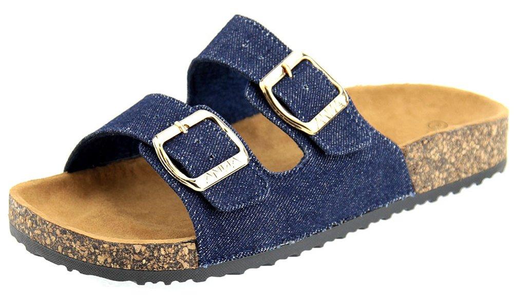 Cambridge Select Women's Open Toe Buckled Two Strap Slip-On Flat Slide Sandal (7 B(M) US, Blue Denim)