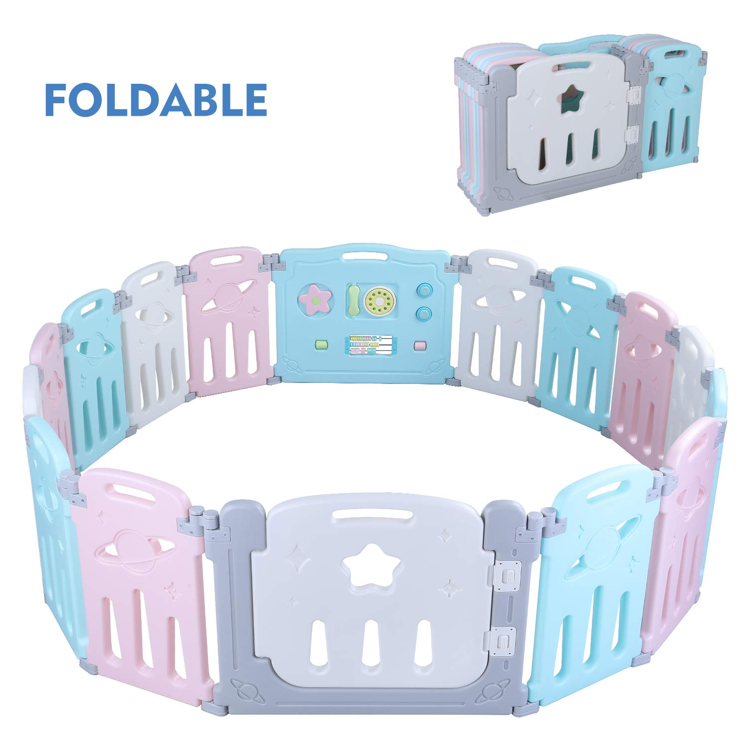 POTBY Star Pattern Foldable Baby Playpen 16 Panel Activity Center Safety Playard, One-Click Folding, Double Layer Clasp and Anti-Slip Base Kid s Fence Indoor Outdoor for Children 10 Months 6 Years Old