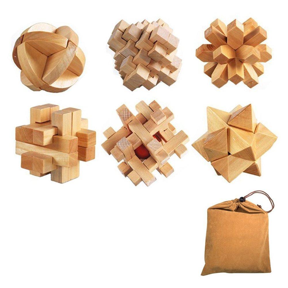 【2018年製 新品】 3d木製パズルセット、Itoy & & iGameクラシック木製パズル、6個で1セット3dパズルKongmingロックパズル古い中国KongmingロックLuban B077K316DQ JigsawパズルToyギフトforキッズと大人 B077K316DQ, Interplay:e7667623 --- a0267596.xsph.ru