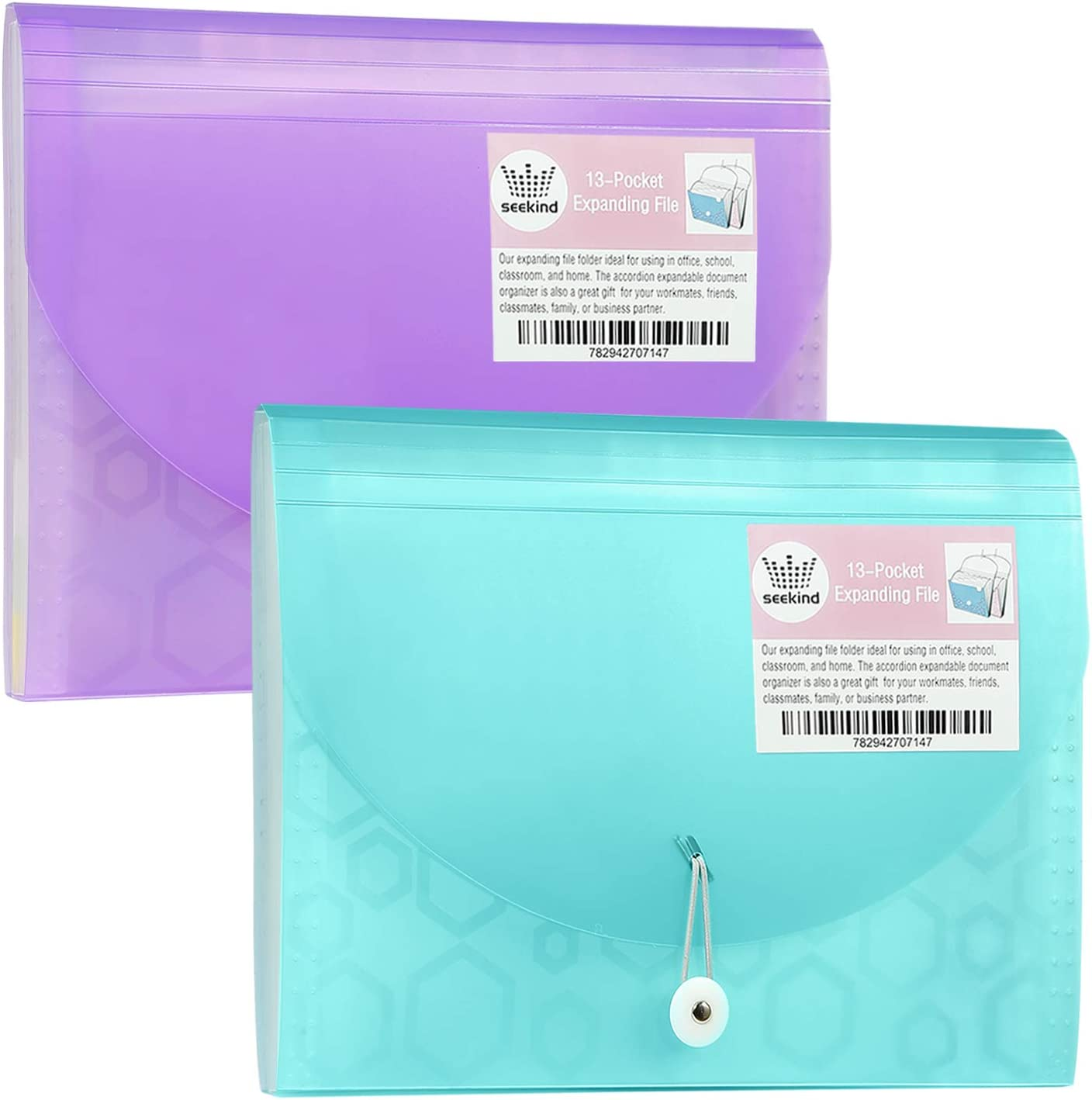 SEEKIND Expanding File Folders 2 Pack, Receipt Organizer Folder Accordion Folder Document with 13 Pocket for Office,Cards,Tickets-Water Resistant