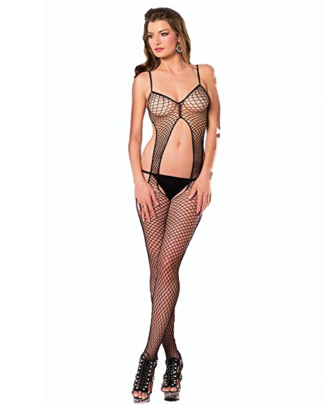 b0c6a5652 Amazon.com  Be Wicked Women s Warning Net Bodystocking with Cut Out Front  and Open Back Details