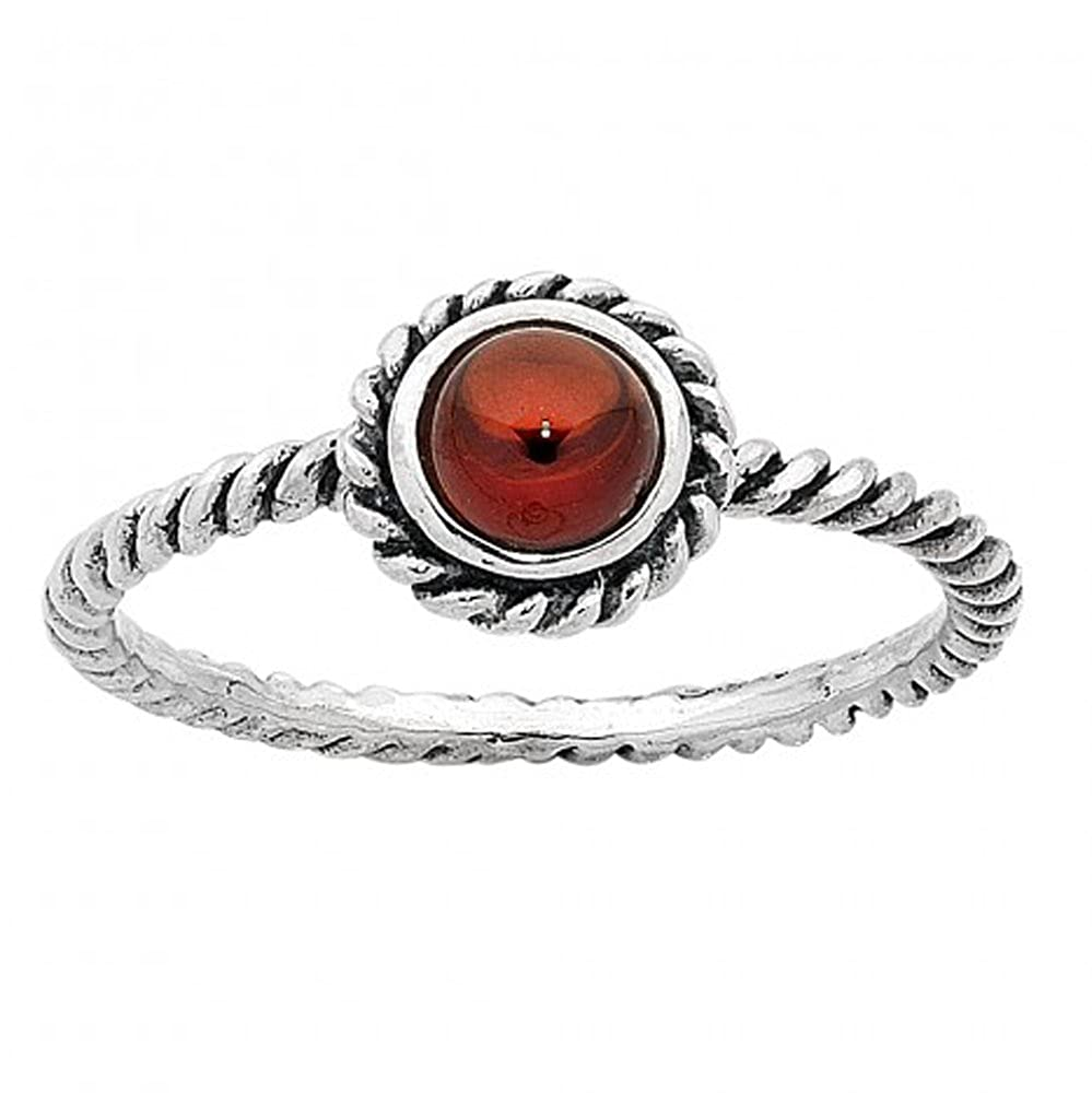 DV Jewels Garnet January Birthstone Ring with Twisted Band