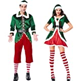 yimosecoxiang novità Uomo Donna Coppia Costume da Elfo di Natale Party Vestiti Giochi di Ruolo Carnevale Props–Donna XL, Women XL