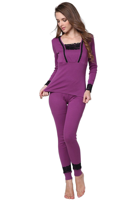 D&P Women's Lace Cotton Thermal Underwear Set Stretch Top & Bottom