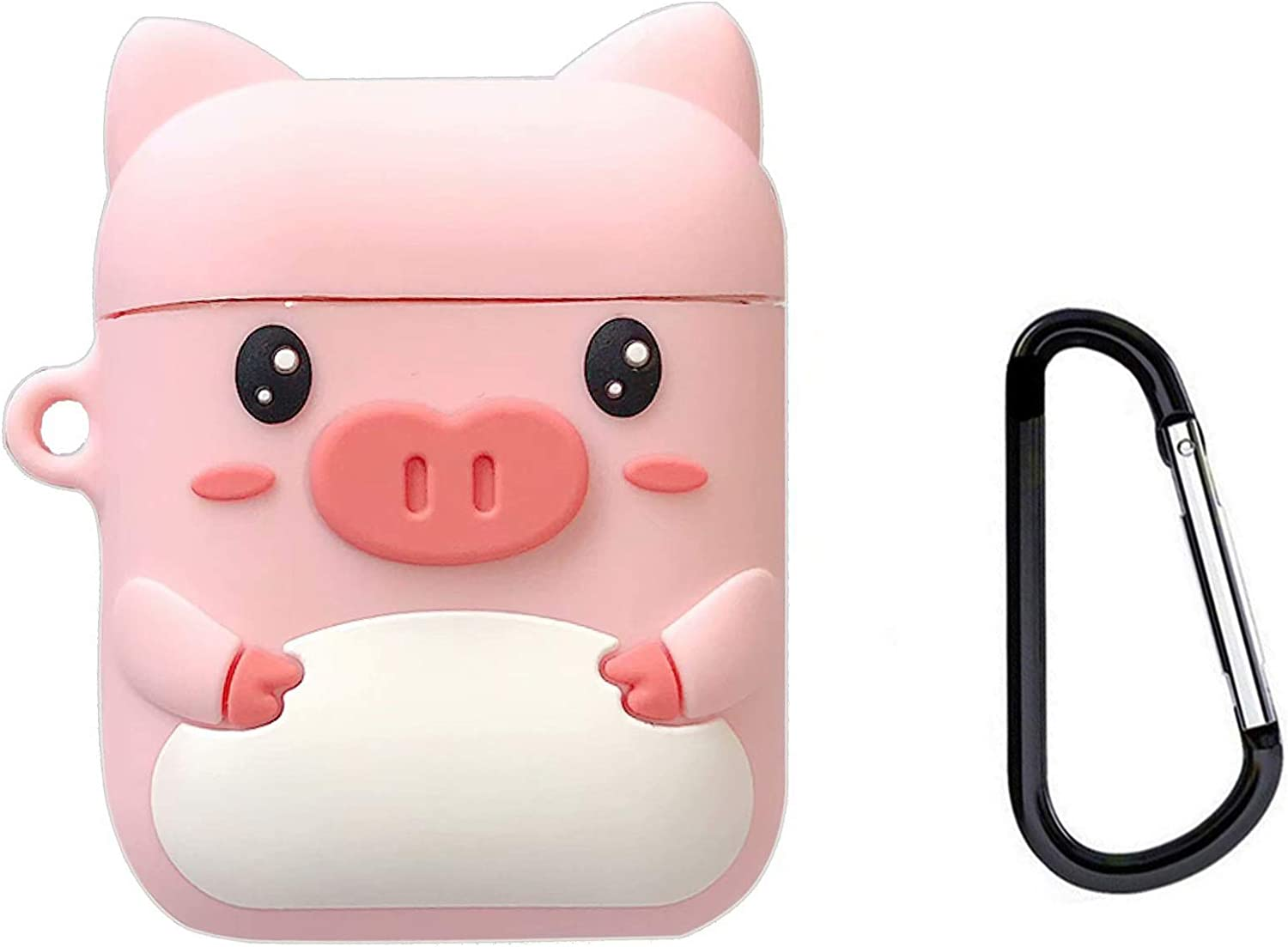 Awin Case for Airpods Case,AirPods 2 Case,Airpods Accessories,Airpods Skin,Cute Cartoon Pink Piglet Silicone Girls Kids Protective Cover Case Compatible for Airpods 1 & 2 Charging Case (Pink Piglet)