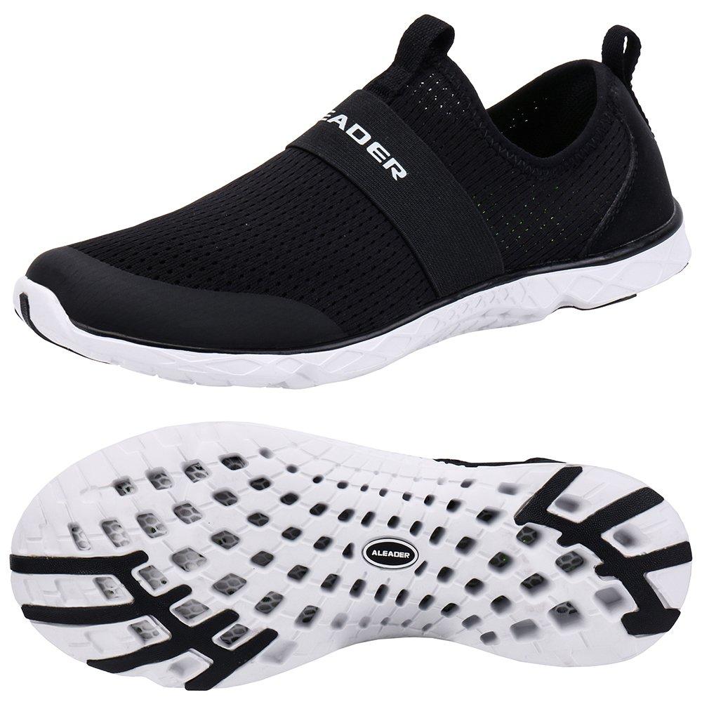 ALEADER Women's Quick-Dry Aqua Water Shoes Black/White 10 D(M) US
