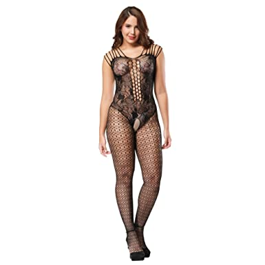 99deb9069 Ciimii Fishnet Bodystocking Plus Size Crotchless Bodysuit Lingerie for  Women (Black)  Amazon.co.uk  Clothing