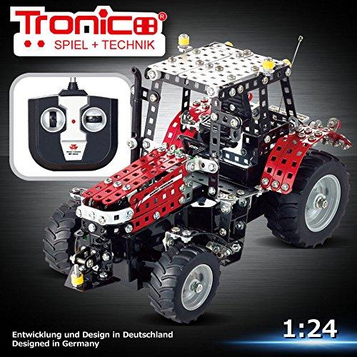 RC Metallbaukasten, RC MASSEY FERGUSON MF-5430, RC Traktor, ferngesteuert, 27 MHZ, 531 Teile, Maßstab 1:24, Tronico, Baukasten inklusive Werkzeug, Metallbaukasten mit Motor