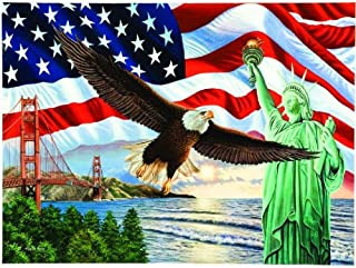 product image for SUNSOUT INC from Sea to Shining Sea - American Flag Bald Eagle Liberty Puzzle - 1000 pc Jigsaw Puzzle